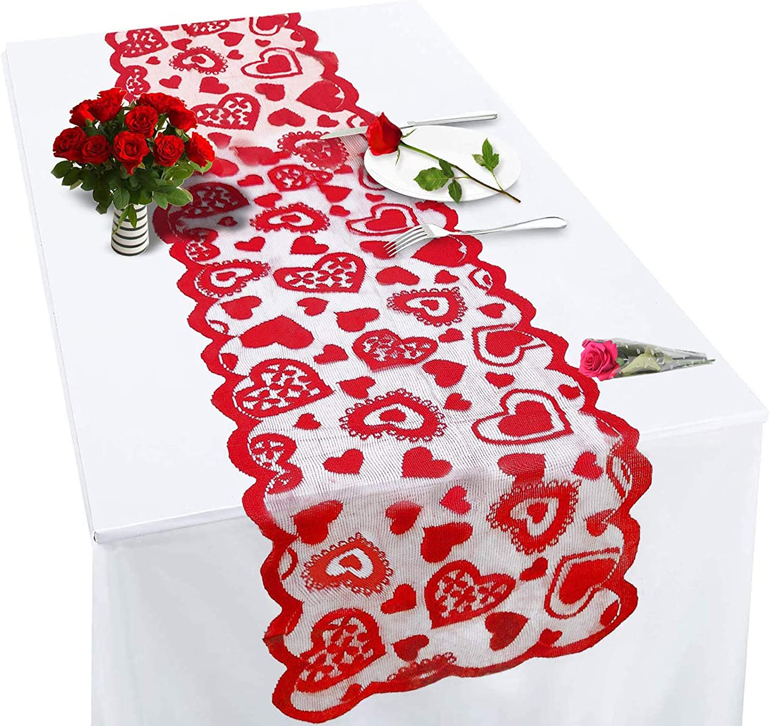 TEMADENT from Daughter or Son Valentines Day Decor - Red, 13 x 72Inch Lace Love Valentines Day Table Runner for Home Wedding Party, Valentines Decor, Valentines Day Table Decorations (1Pack)