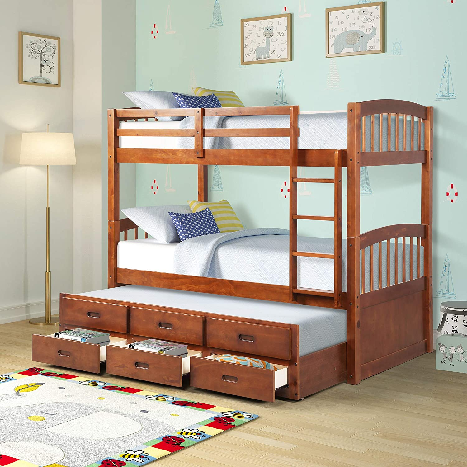 G-house Twin Over Twin Wood Bunk Bed with Safety Rail, Ladder, Trundle and Storage Drawers, Walnut Brown