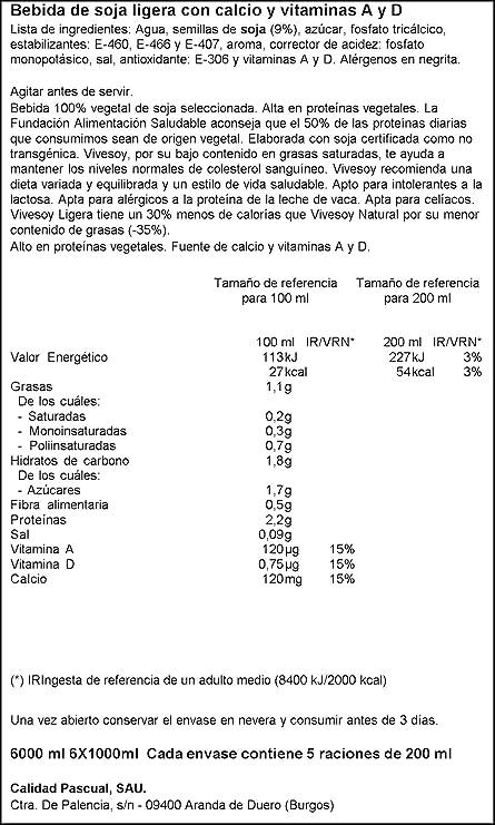 Vivesoy - Bebida de Soja Ligera - Paquete de 6 x 1 l - Total: 6 L