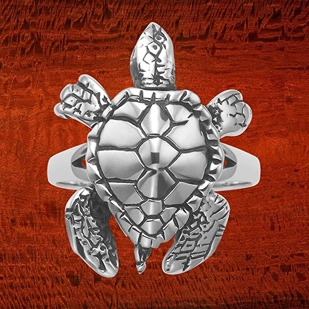 Sterling Silver Movable Sea Turtle Ring R730