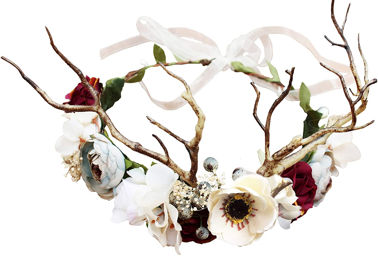 Adjustable Flower Headband Hair Wreath Floral Garland Crown Flower Halo Headpiece Boho with Ribbon Wedding Party