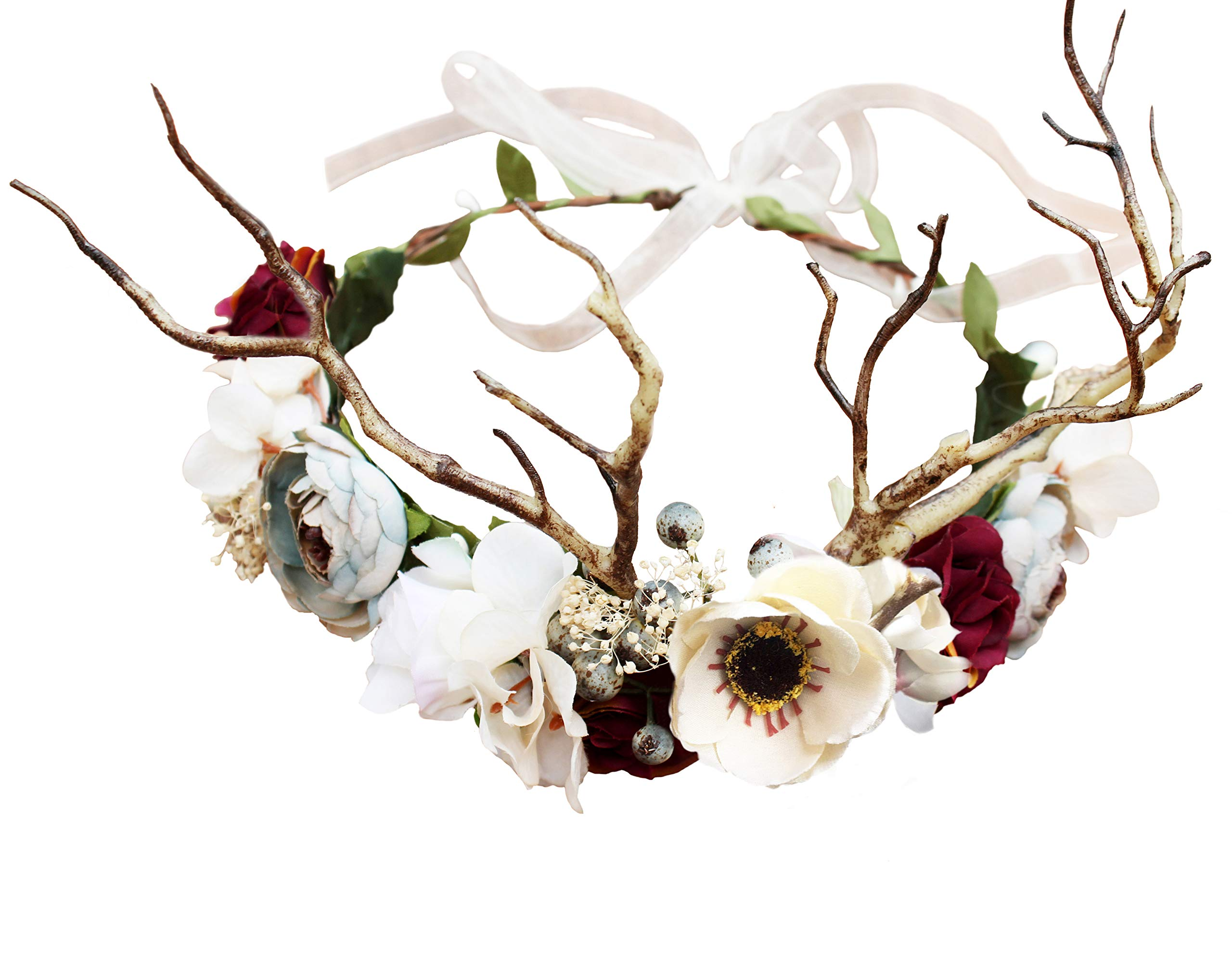 Vivivalue Deer Flower Crown Boho Flower Headband Hair Wreath Floral Headpiece Halo with Ribbon Wedding Party Festival Photos