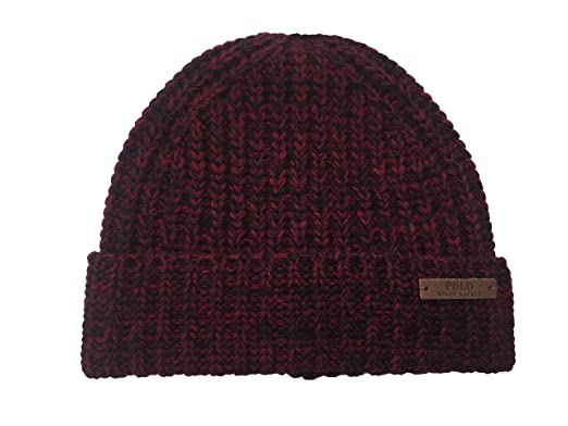 Polo Ralph Lauren Men`s Chunky Knit Wool Beanie (Heather Red(PP0086 ... 120c6183eb9