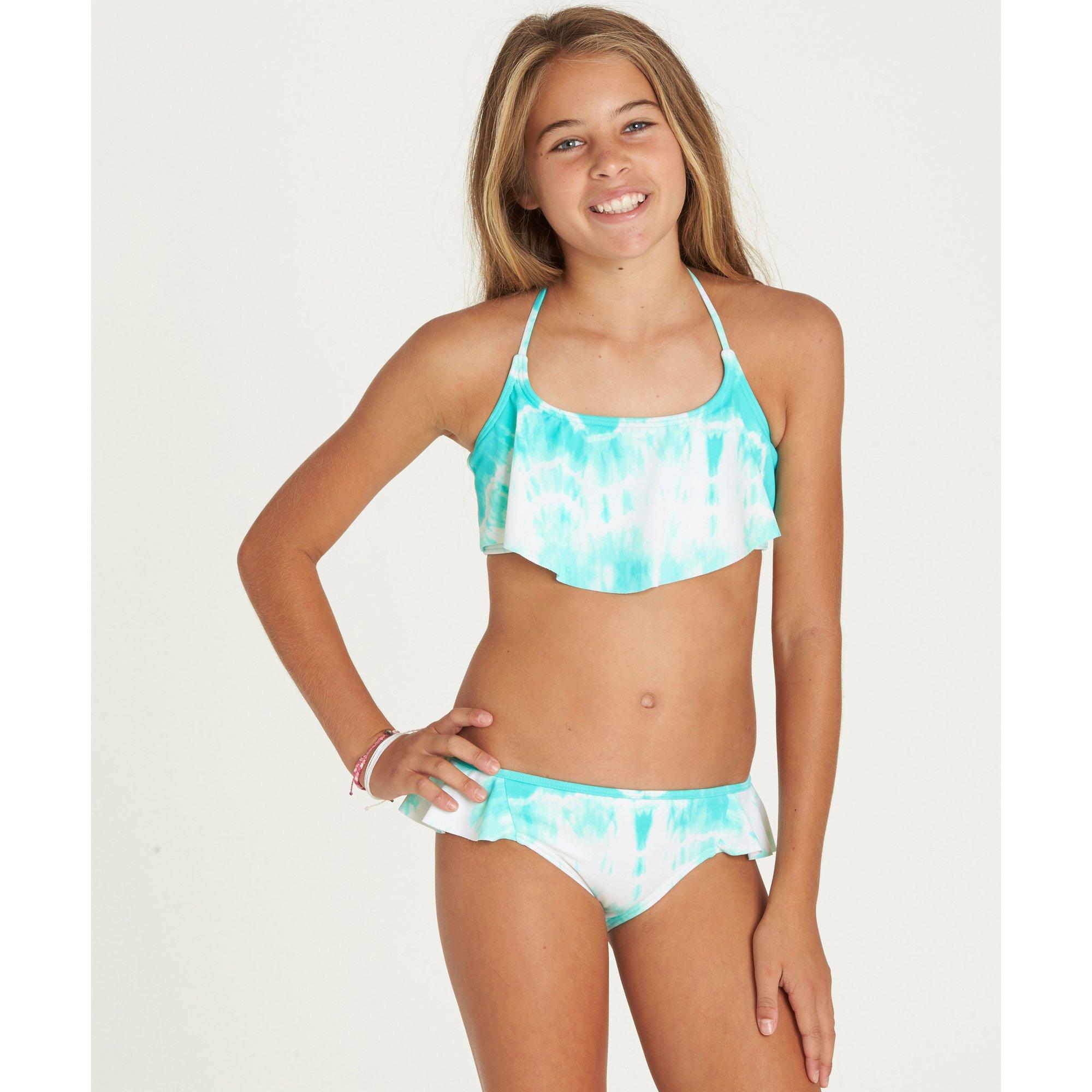 Billabong Little Girls' Peace 4 U Flutter Bikini Swim Set, Beach Glass, 7