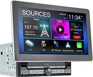 Jensen CAR10 10-inch Capacitive LCD Digital Multimedia Adjustable Touch Screen Double DIN Car Stereo | Apple CarPlay Android Auto | Bluetooth | MP4 Video Playback | USB | microSD Port