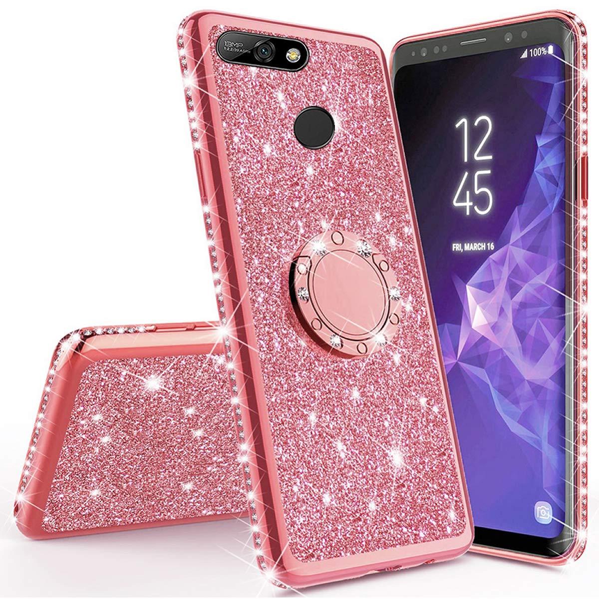 Miagon Custodia per Huawei Y6 2018,Brillante Scintillare Diamante Telaio Luccichio 360 Grado Sopportare Donna Ragazza TPU Silicone Protettiva Cover per Huawei Y6 2018