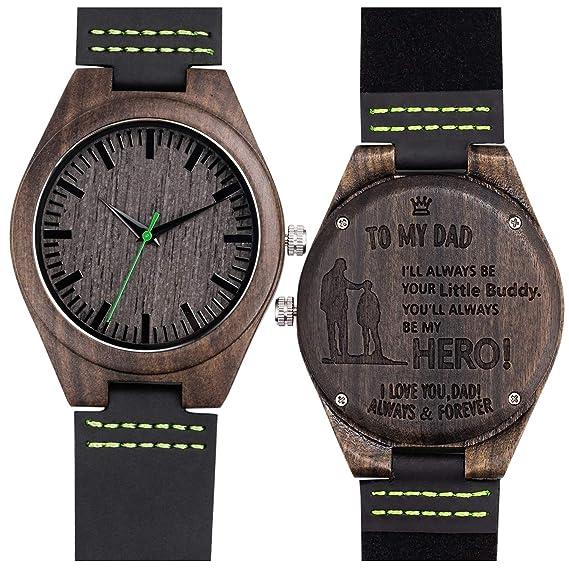 Grabado Relojes de Pulsera Sándalo Negro Reloj Madera Cuarzo analógico para Hombre Correa de Cuero(Little Buddy),Packed in a Box: Amazon.es: Relojes