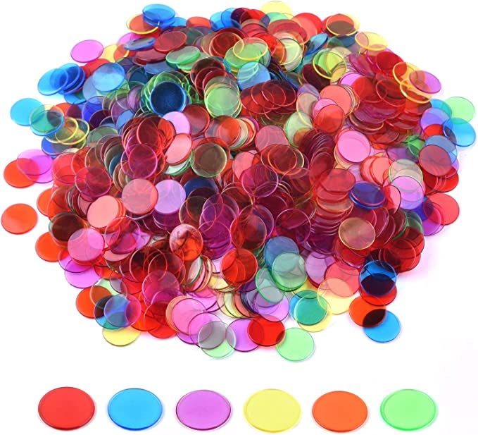 3//4 Inch Solid Black Counting Chips Plastic Bingo Chips 150 Count