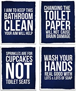 Fun Bathroom Home Wall Art Decor Set Gift for Couples Her Him | Funny UNFRAMED Artwork Posters Sign Photos Restrooms Toilet Room Decorations Sayings Cuadros para Baños Rules Azul (8x10, Navy Blue)