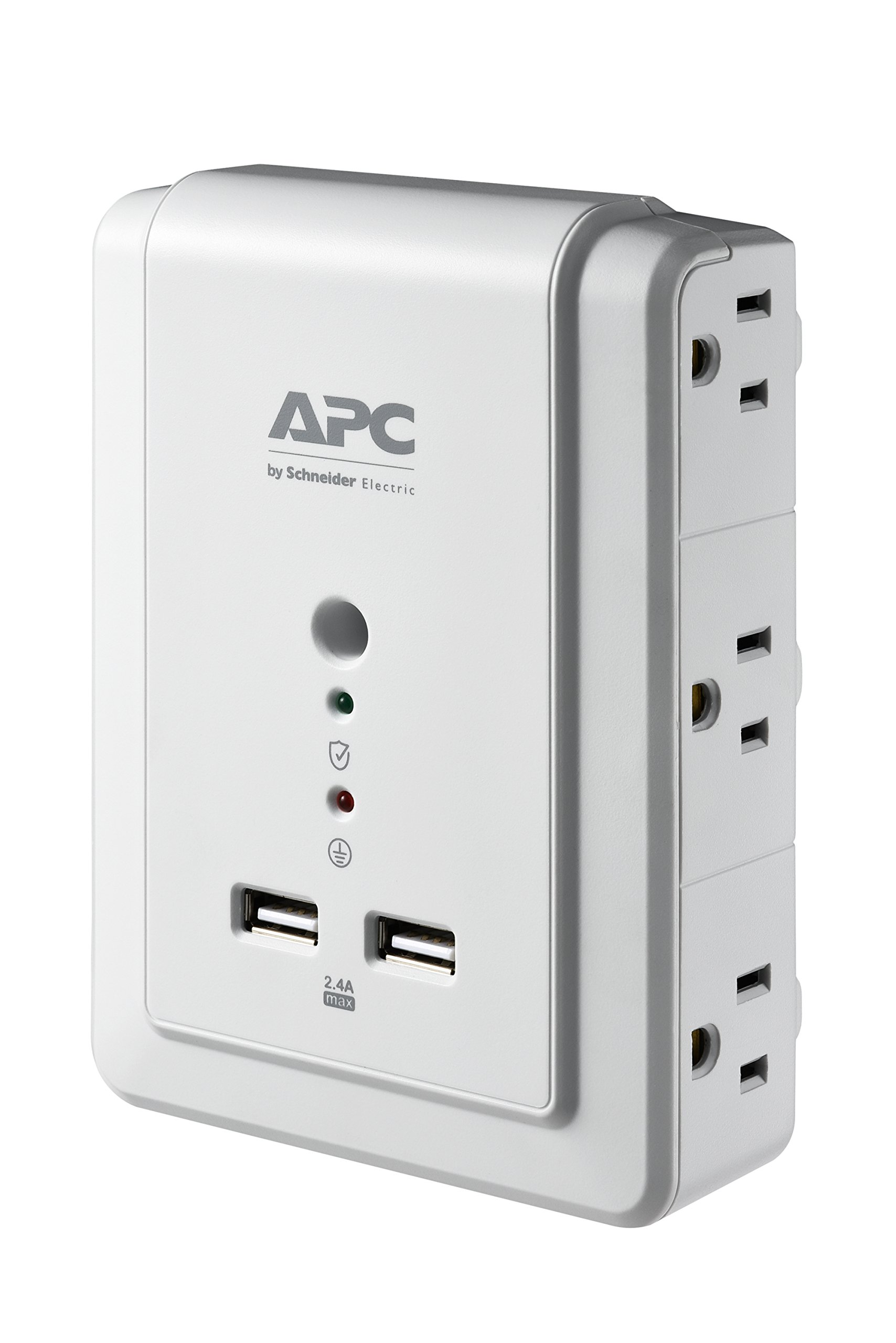APC 6-Outlet Wall Surge Protector with USB Charging Ports, SurgeArrest Essential (P6WU2) by APC