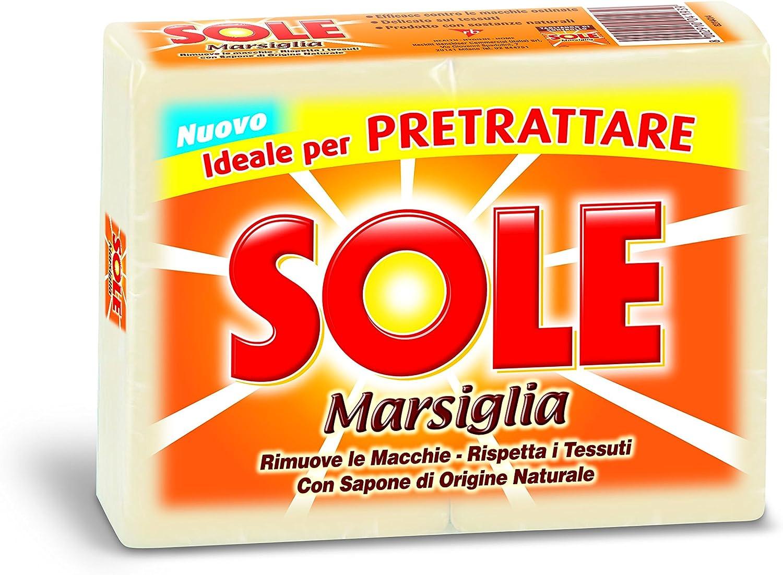 Sole - Sapone per Bucato, Marsiglia, Ideal per Pretrattare - 3 confezioni  da 2 saponette da 250 g [6 saponette, 1500 g]: Amazon.it: Salute e cura  della persona