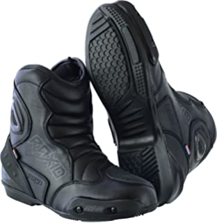 RAXID Motorbike Motorcycle Genuine Leather Mens Short Racing Sports Shoes Boots Black UK12//US13//EU46