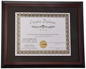 CreativePF [11x14mh-b] Mahogany Diploma Frame with Black Mat to Hold 8.5 by 11-inch Graduation Documents with Installed Wall Hanger