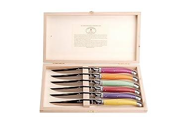 Laguiole - Juego de cubiertos con 6 cuchillos para carne, colores del arco iris: Amazon.es: Hogar