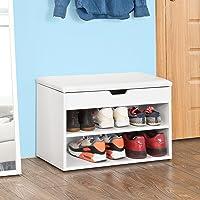 SoBuy FSR25-W Wooden Shoe Cabinet, 2 Tiers Shoe Storage Bench Shoe Rack