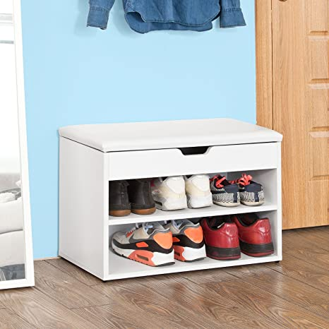 SoBuy Armario para Zapatos de Madera, 2 Niveles Estante para Zapatos Zapatero Plegable Banco con