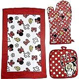 Disney Oven Mitt Pot Holder & Dish Towel 3 pc Kitchen Set (Minnie Mouse Red)