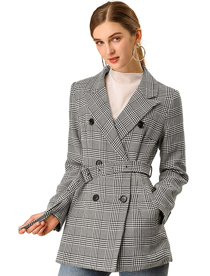 Vintage Coats & Jackets | Retro Coats and Jackets Allegra K Womens Plaid Double Breasted Notched Lapel Belted Jacket $59.99 AT vintagedancer.com