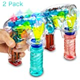 Kidsco Bubble Gun Blower Machine - Pack of 2 Light Up LED Transparent Blaster - for Kids, Playing, Outdoors, Indoors, Gifts, and Party Favors - 1 Bubble Solution and Batteries Included