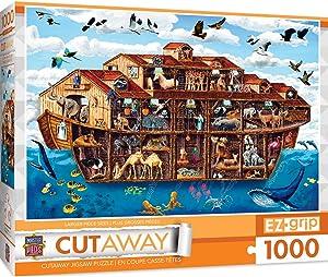 MasterPieces EZGrip Cut-Aways Extra Large Jigsaw Puzzle, Noah's Arc, Featuring Art by Art Poulin, 1000 Pieces