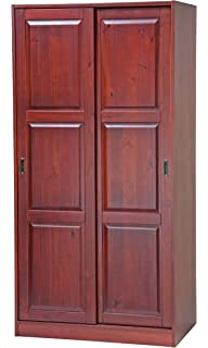 100% Solid Wood 2 Sliding Door Wardrobe/Armoire/Closet/Mudroom Storage