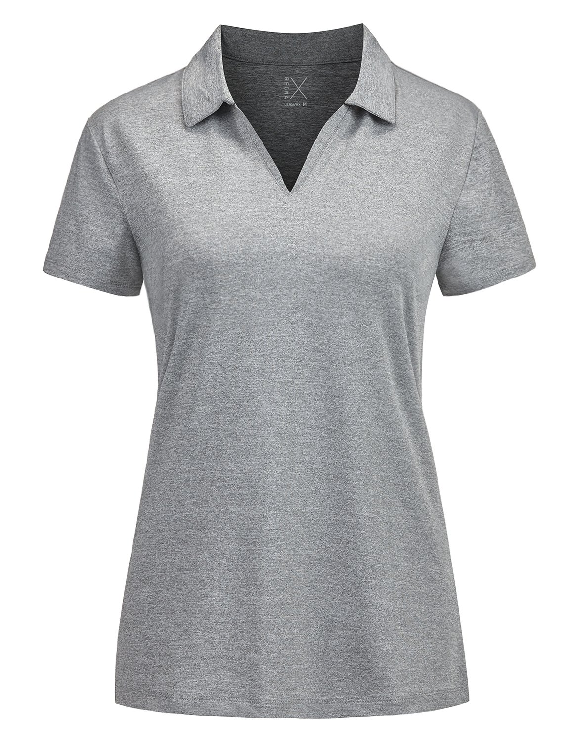 Regna X v Neck Fitness Tops Golf Short Sleeve us Polo Shirts for Women Grey XL