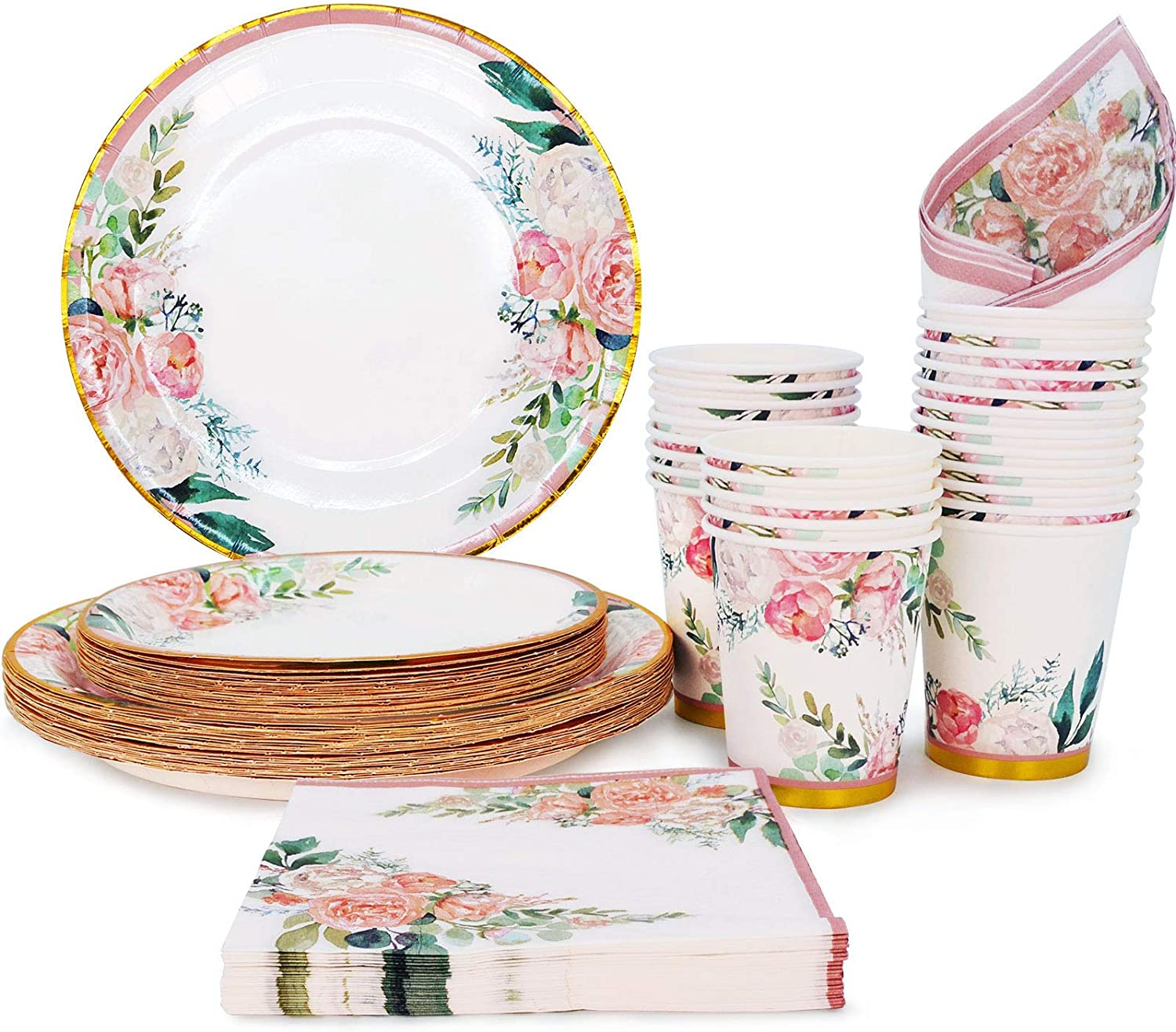 Floral Party Supplies paper plates and Napkins Sets for 24 Guest-Include Floral Party Disposable Paper Dinner Plates,Cups,Napkin for Baby or Bridal Shower,Birthday,Wedding,Bachelorette party Supplies