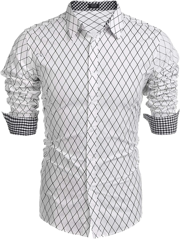 Coofandy - Camisa de manga larga para hombre, diseño casual con botones: Amazon.es: Ropa y accesorios