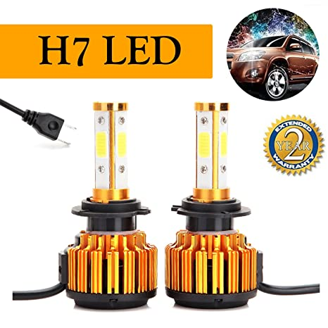 H7 - Bombillas LED para faros delanteros (16000 lúmenes, 6000 K, 4 chips