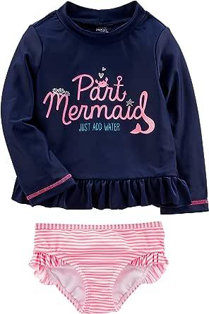 Simple Joys by Carter's Girls' Toddler Rashguard Sets, Navy/Pink, 5T
