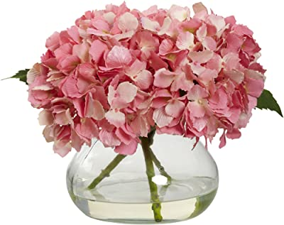 Nearly Natural 1356-PK Blooming Hydrangea with Vase, Pink