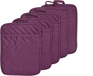 "VEIKERY Oven Pot Holder with Pocket 100% Cotton Heat Resistant Coaster Potholder Kitchen Hot Pad Oven Mitts for Cooking and Baking Square 7""x9"" (Purple, 5)"