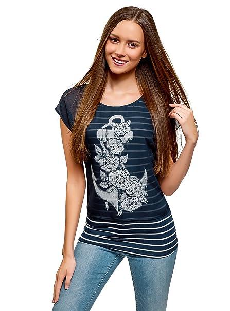 oodji Collection Mujer Blusa Combinada con Estampado, Azul, ES 36 / XS