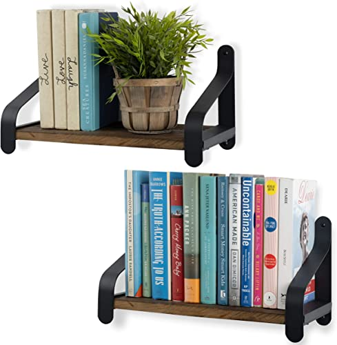 Rustico Floating Wall Bookshelf Reclaimed Wood Farmhouse Shelving with Iron Brackets Walnut Set of 2