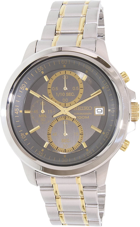 Amazon.com: Seiko Sks449p1 Mens Chrono Silver-Tone And Gold-Tone Ss Grey Dial Watch: Seiko: Watches