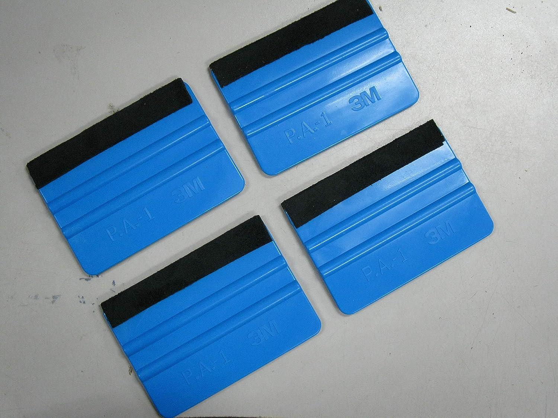 3M Plastic Felt Edge Squeegee Car Vinyl Wrap Application Tool Scraper Decal Blue