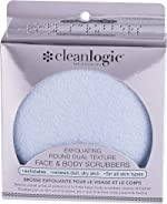 Cleanlogic Exfoliating Round Dual Texture Face and Body Scrubbers, Blue, 2