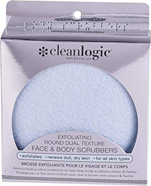Cleanlogic Exfoliating Round Dual Texture Face and Body Scrubbers, Blue, 2 Count