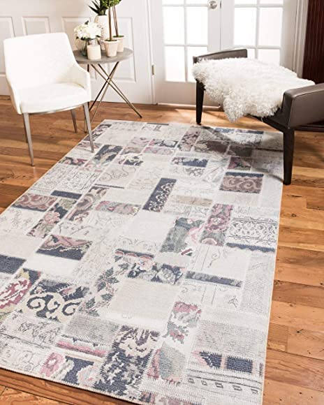 Natural Area Rugs Vintage Oriental Luxor Polyester Rug 6' x 9' Multi