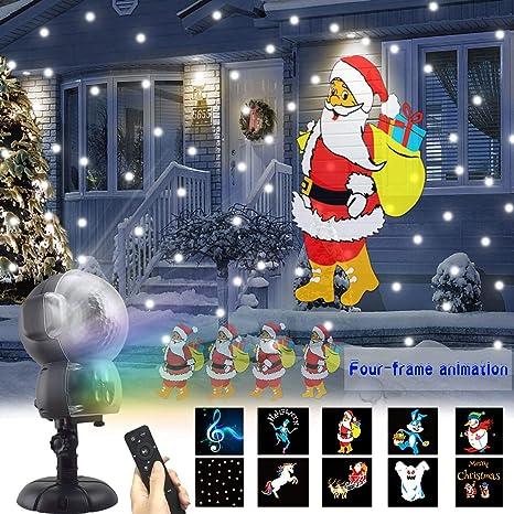 Proiettore Luci Di Natale Amazon.Ukeer Proiettore Luci Led Natale Animazione Neve Flood Light Caduta Della Neve Proiettore Con Telecomando Illuminazione Da Interno Ed Esterno Natale