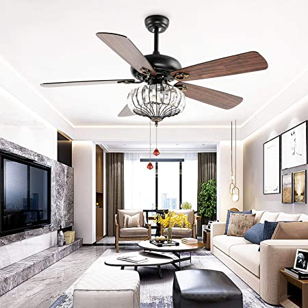 LuxureFan Modern Industrial Ceiling Fan Light Bulbs with 5 Wood Blade Crystal Ceiling Fan Pulls Remote Control 3 Speed Decoration for Home Restaurant Living Room of 52 Inch Black