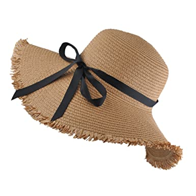 EINSKEY Sombrero Paja Mujer de Verano de ala Ancha Sombrero de Playa Plegable (001_Beige obscuro