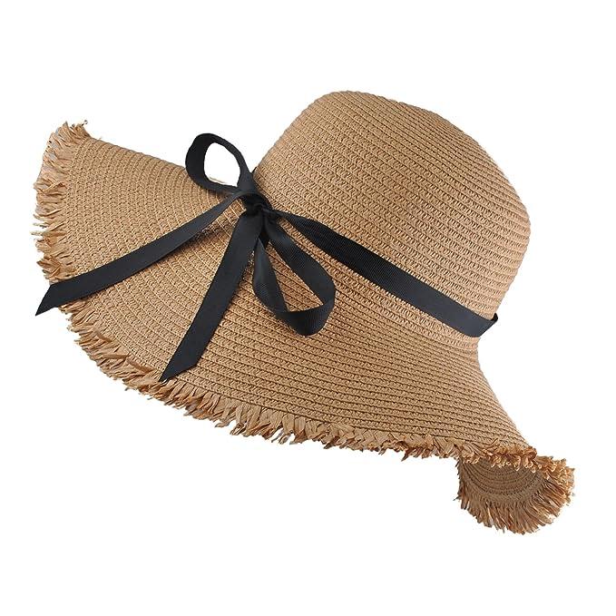 EINSKEY Sombrero Paja Mujer de Verano de ala Ancha Sombrero de Playa  Plegable (001 Beige obscuro dc84a5698fcd