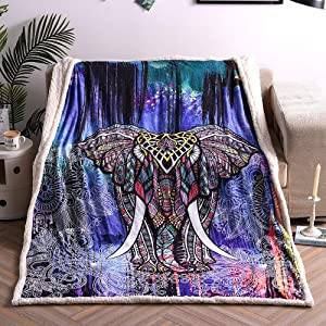 Sincethen Elephant Throw Blanket Twin, Sherpa Fleece Flannel Retro Ethnic Animal Theme Soft Fuzzy Plush Throw Blanket for Boy Kids Teen Adult (Twin 60