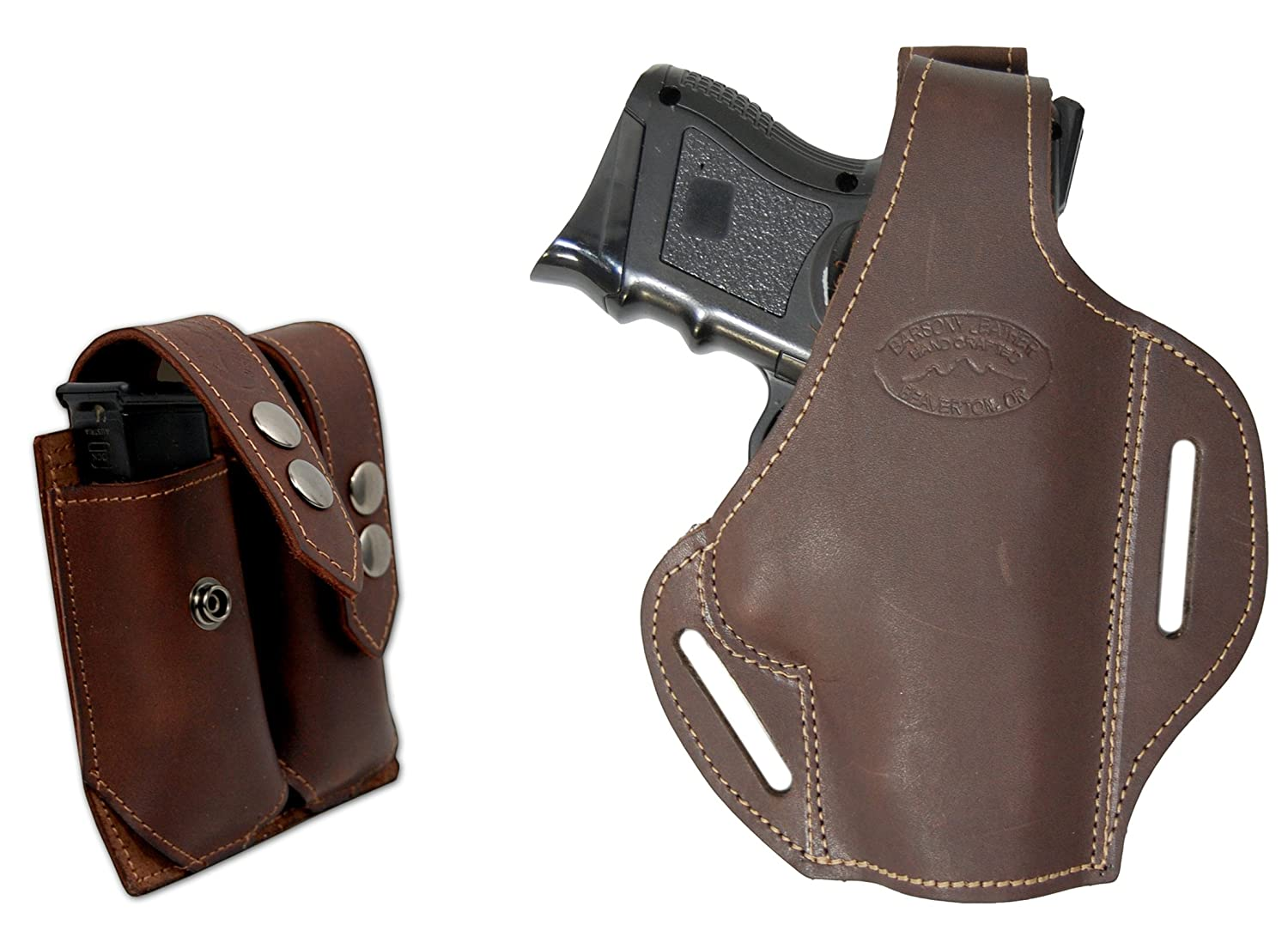New Barsony Burgundy Leather Yaqui Holster Mag Pouch Astra Beretta Compact 9mm