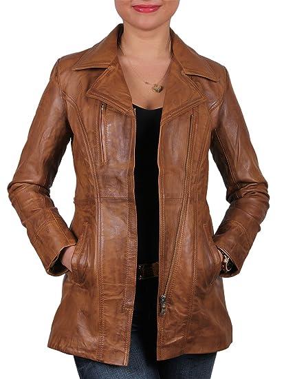 Veste longue pour femmes en peau de mouton ( véritable cuir )