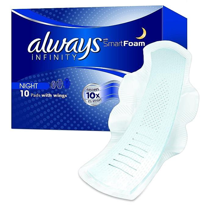 Always Infinity Noche (Talla 3) - 10 Toallas sanitarias con alas para protección durante la noche. Con tecnología revolucionaria.