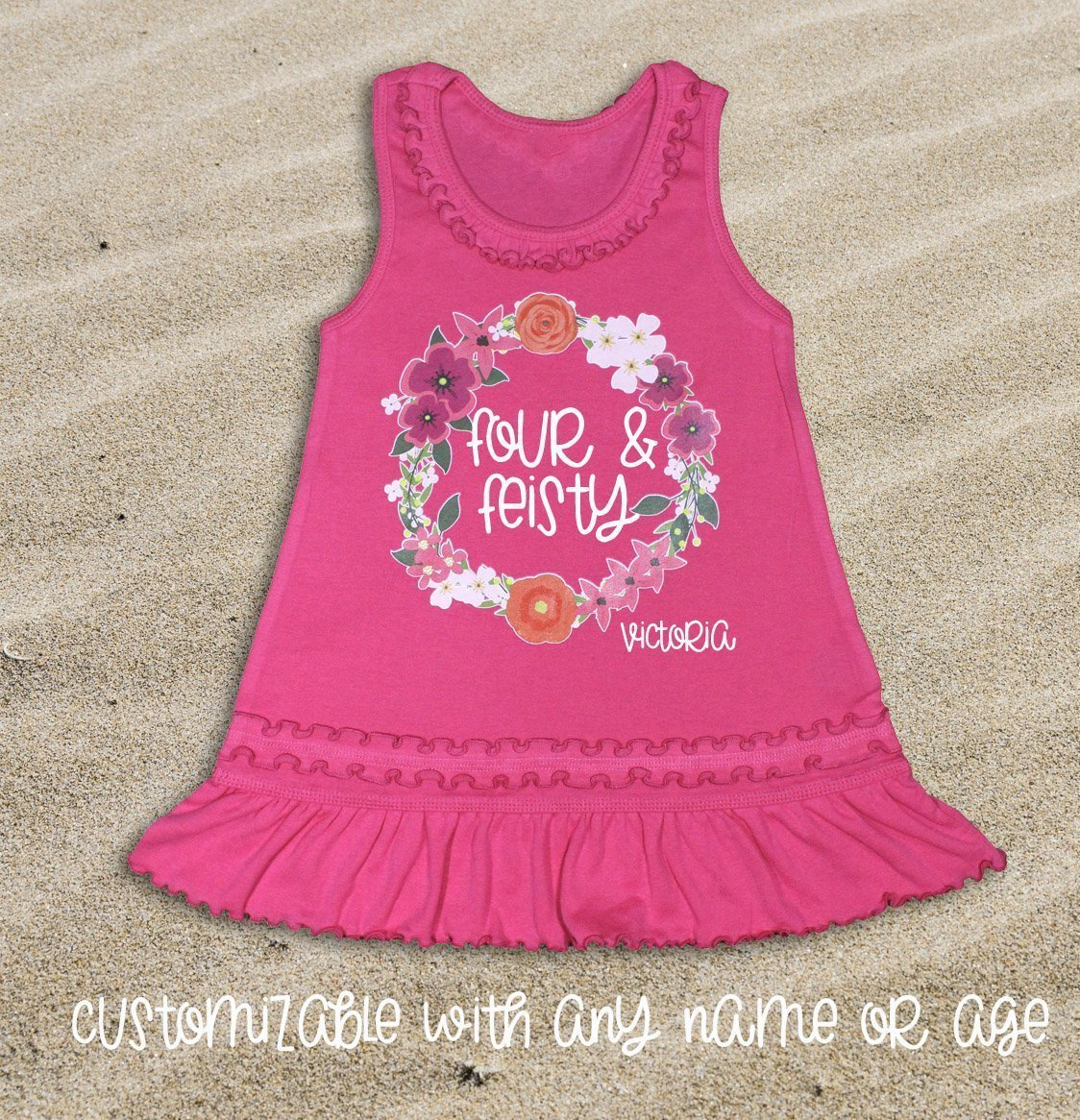 Girl 4th Birthday Outfit Girl's Fourth Birthday Dress Four and Feisty Dress Girl Fourth Birthday Outfit Four Dress Girl's Birthday Dress