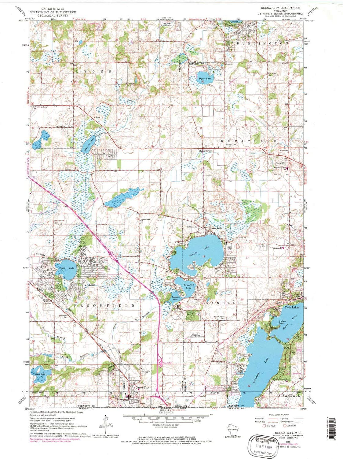 Amazon Com Yellowmaps Genoa City Wi Topo Map 1 24000 Scale 7 5 X 7 5 Minute Historical 1960 Updated 1972 28 17 X 21 19 In Polypropylene Sports Outdoors