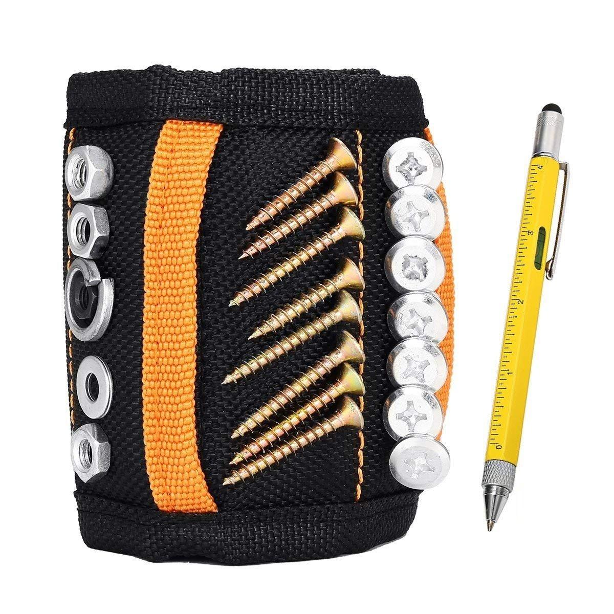 Baban Magnetische Armbä nder, Magnetarmband mit 15 leistungsstarken Magneten Magnet Armbä nder verstellbares Klettband zum Halten von Werkzeugen, Schrauben, Nä gel, Bohren Bits und Kleinwerkzeuge